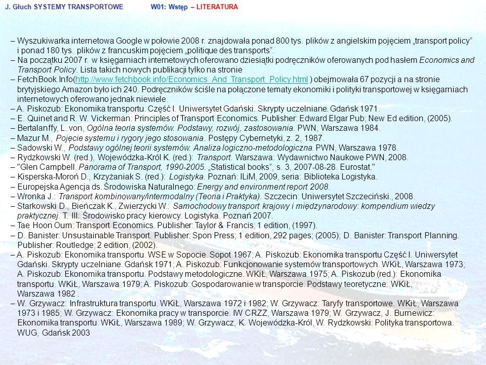J. Głuch SYSTEMY TRANSPORTOWE W01: Wstęp – LITERATURA – Wyszukiwarka internetowa Google w połowie 2008 r. znajdowała ponad 800 tys. plików z angielski