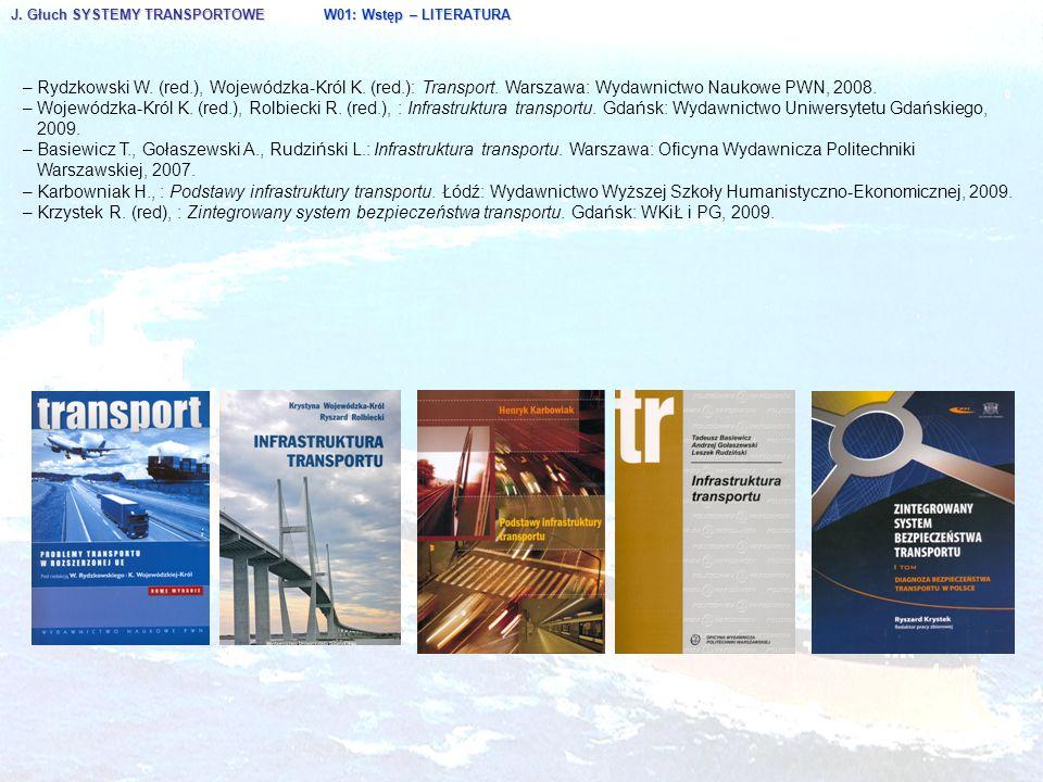 J. Głuch SYSTEMY TRANSPORTOWE W01: Wstęp – LITERATURA – Rydzkowski W. (red.), Wojewódzka-Król K. (red.): Transport. Warszawa: Wydawnictwo Naukowe PWN,