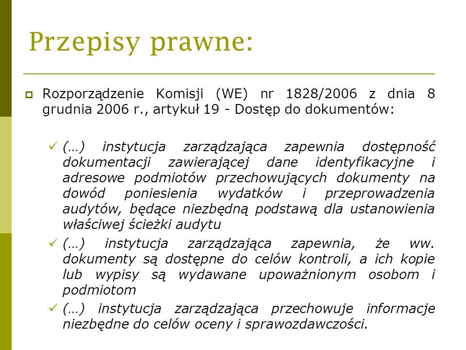 Przepisy prawne: Rozporządzenie Komisji (WE) nr 1828/2006 z dnia 8 grudnia 2006 r., artykuł 19 - Dostęp do dokumentów: (…) instytucja zarządzająca zap