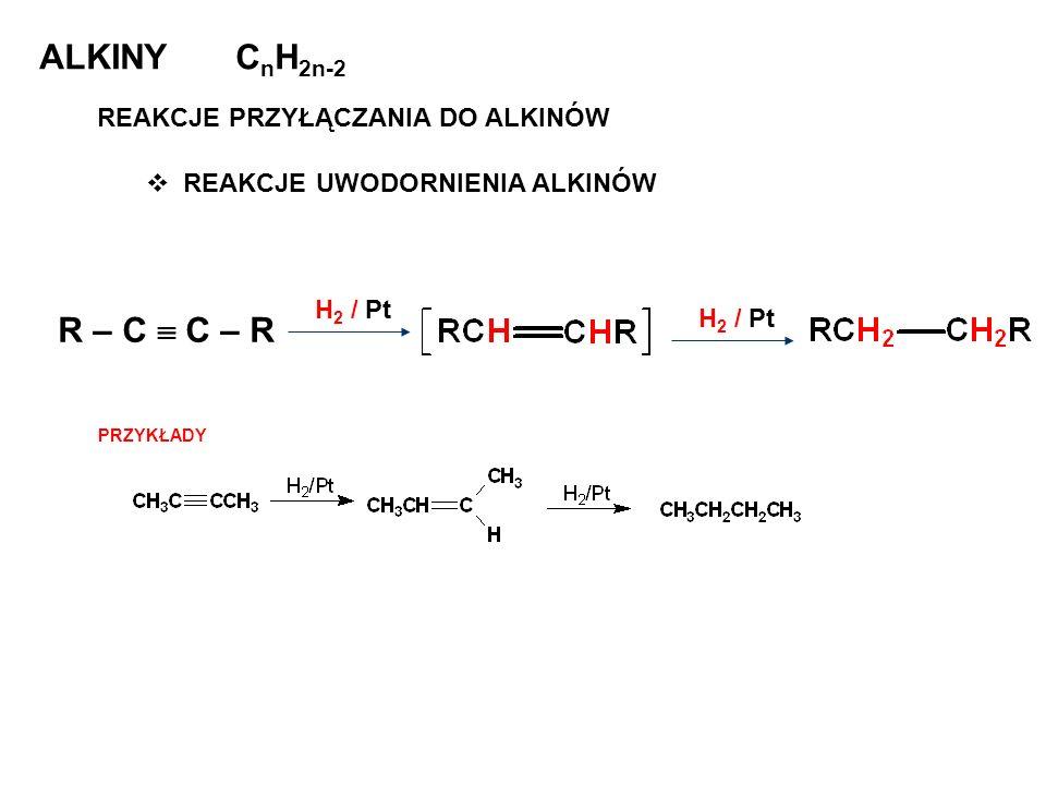 ALKINY C n H 2n-2 REAKCJE PRZYŁĄCZANIA DO ALKINÓW REAKCJE UWODORNIENIA ALKINÓW R – C C – R H 2 / Pt PRZYKŁADY
