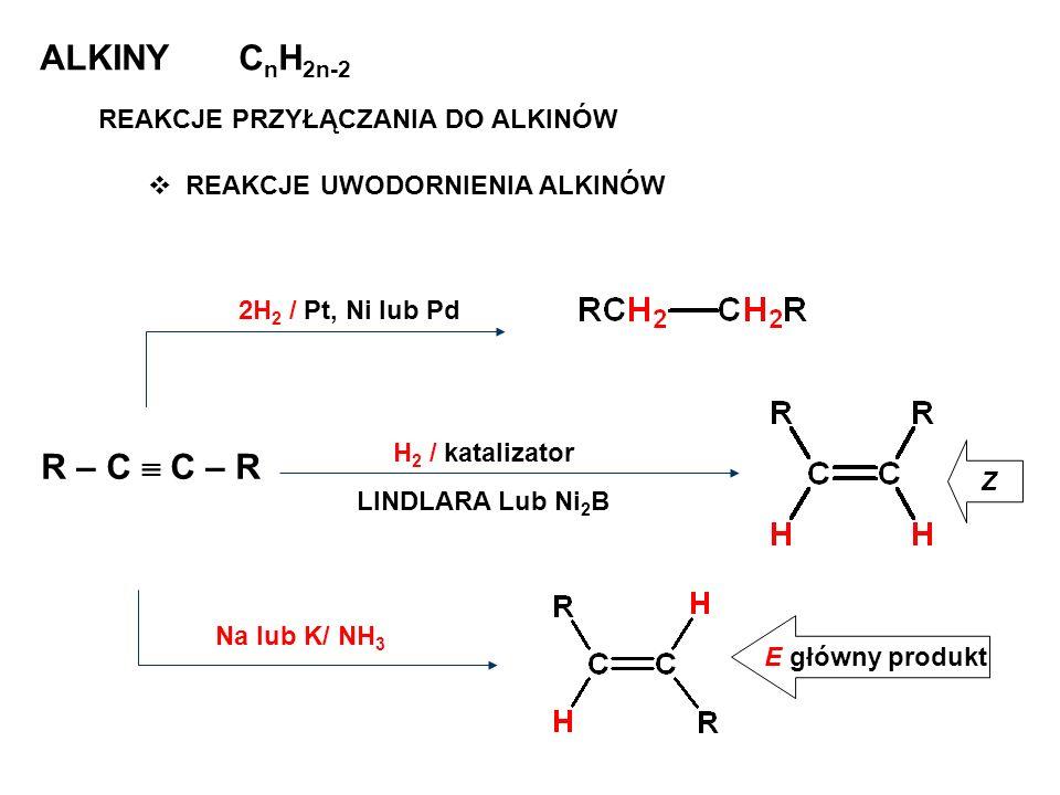 ALKINY C n H 2n-2 REAKCJE PRZYŁĄCZANIA DO ALKINÓW REAKCJE UWODORNIENIA ALKINÓW R – C C – R 2H 2 / Pt, Ni lub Pd H 2 / katalizator LINDLARA Lub Ni 2 B