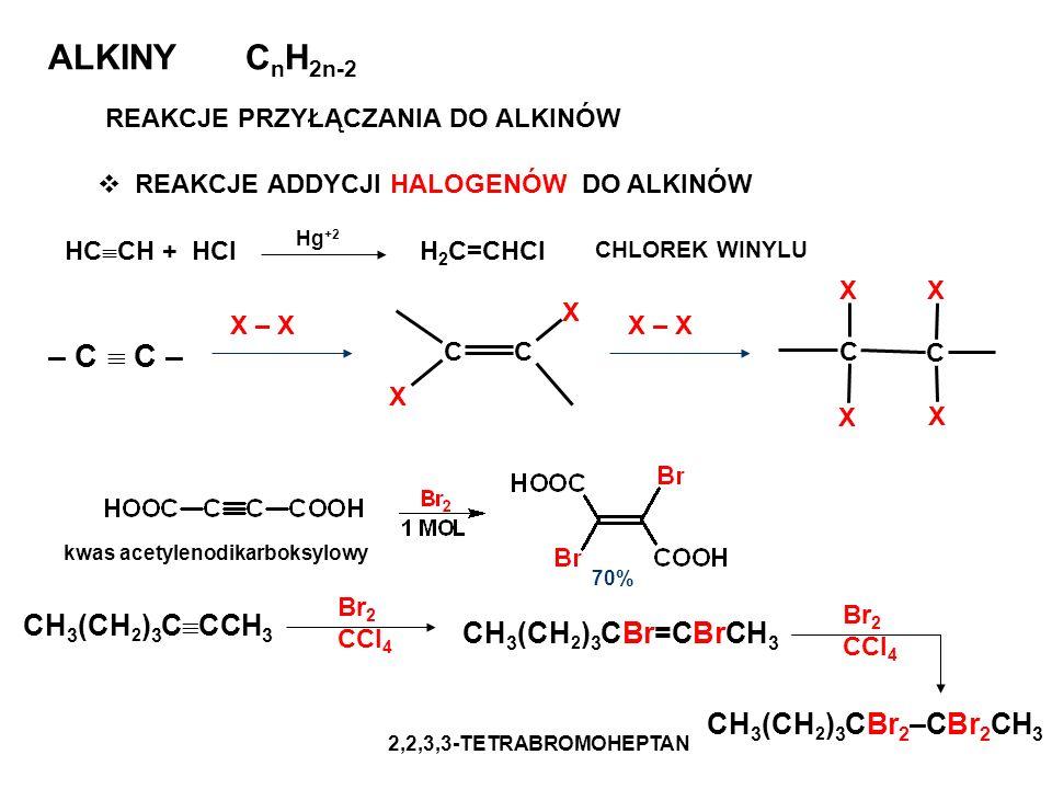 REAKCJE ADDYCJI HALOGENÓW DO ALKINÓW ALKINY C n H 2n-2 REAKCJE PRZYŁĄCZANIA DO ALKINÓW – C C – X – X CC X X C C X X XX kwas acetylenodikarboksylowy 70