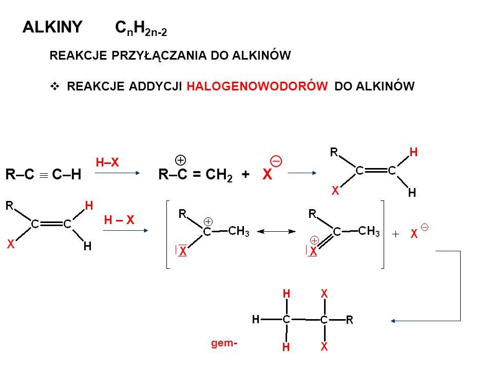 ALKINY C n H 2n-2 REAKCJE PRZYŁĄCZANIA DO ALKINÓW REAKCJE ADDYCJI HALOGENOWODORÓW DO ALKINÓW R–C C–H H–X R–C = CH 2 + X gem-