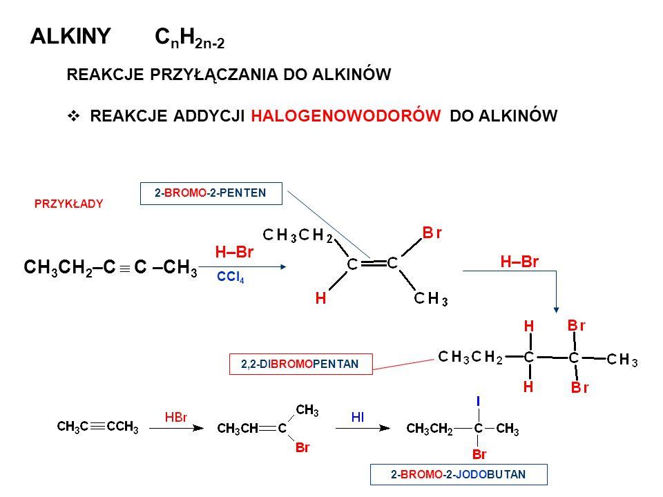 ALKINY C n H 2n-2 REAKCJE PRZYŁĄCZANIA DO ALKINÓW REAKCJE ADDYCJI HALOGENOWODORÓW DO ALKINÓW 2-BROMO-2-PENTEN 2,2-DIBROMOPENTAN CH 3 CH 2 –C C –CH 3 H