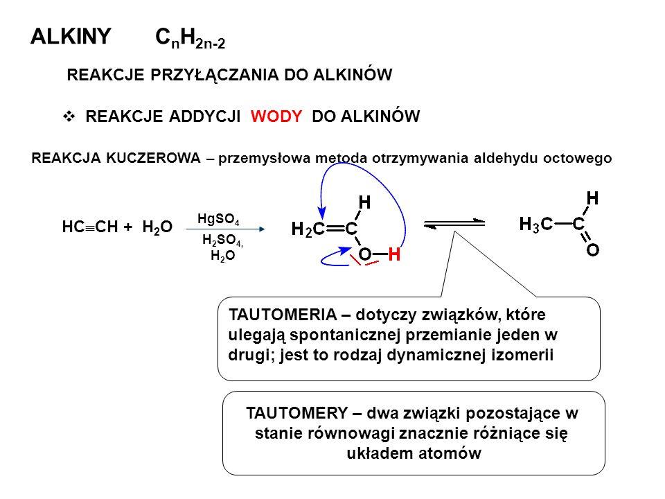 ALKINY C n H 2n-2 REAKCJE PRZYŁĄCZANIA DO ALKINÓW REAKCJE ADDYCJI WODY DO ALKINÓW REAKCJA KUCZEROWA – przemysłowa metoda otrzymywania aldehydu octoweg