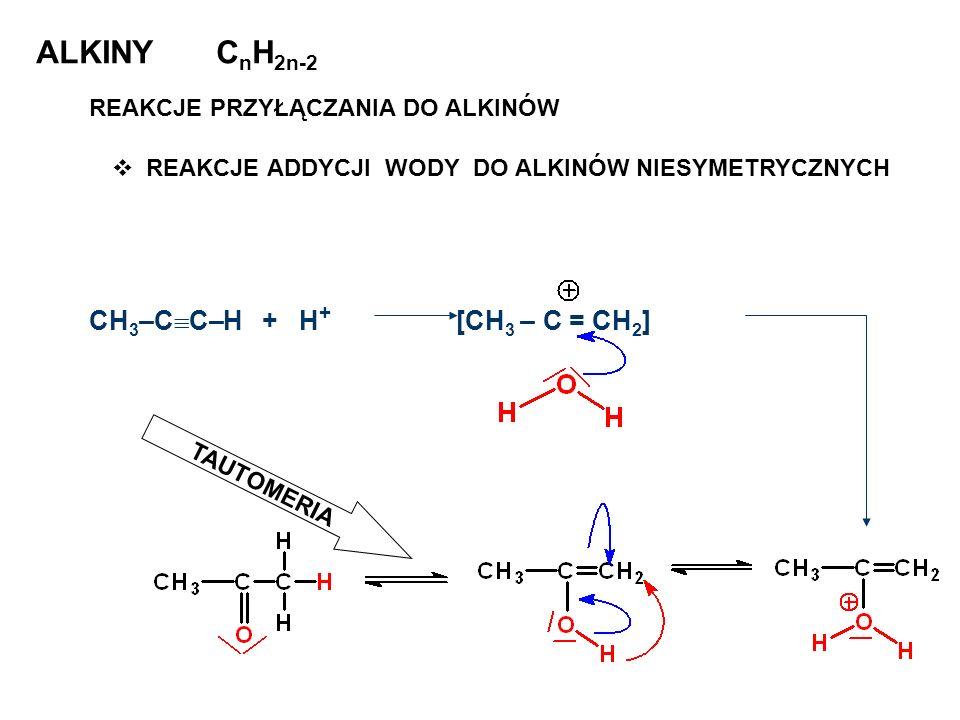 ALKINY C n H 2n-2 REAKCJE PRZYŁĄCZANIA DO ALKINÓW REAKCJE ADDYCJI WODY DO ALKINÓW NIESYMETRYCZNYCH CH 3 –C C–H + H + [CH 3 – C = CH 2 ] TAUTOMERIA
