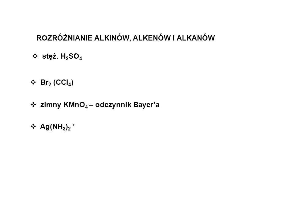 ROZRÓŻNIANIE ALKINÓW, ALKENÓW I ALKANÓW Ag(NH 3 ) 2 + Br 2 (CCl 4 ) zimny KMnO 4 – odczynnik Bayera stęż. H 2 SO 4