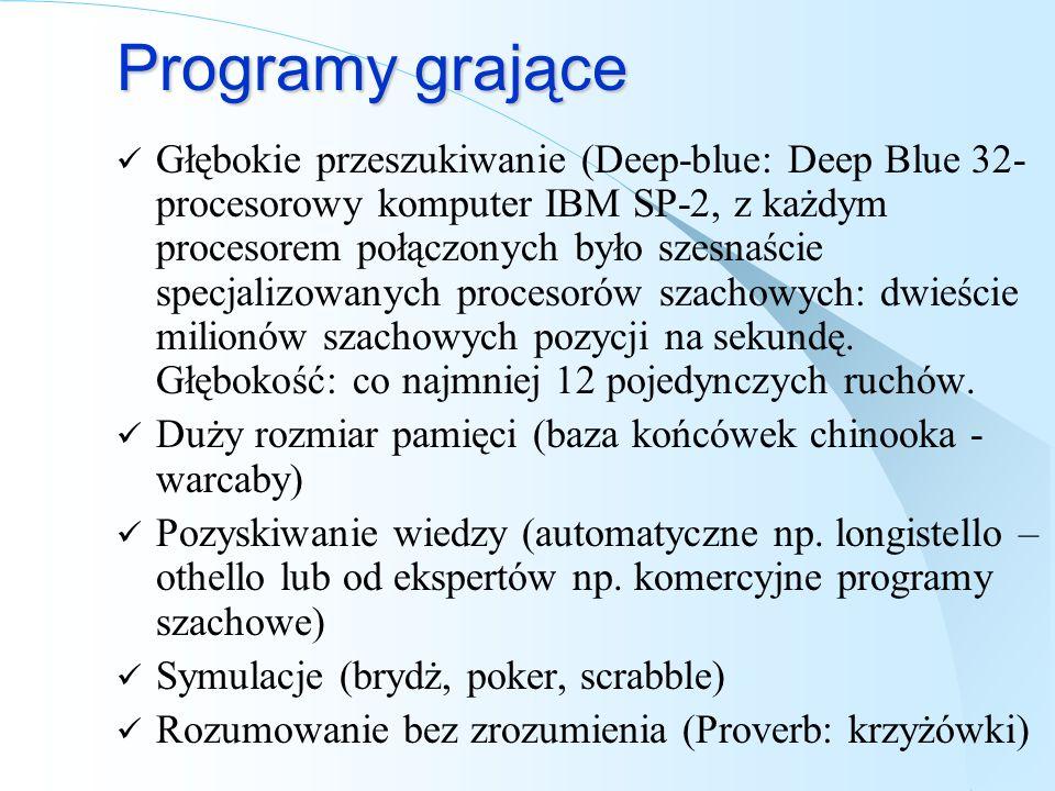 Programy grające Głębokie przeszukiwanie (Deep-blue: Deep Blue 32- procesorowy komputer IBM SP-2, z każdym procesorem połączonych było szesnaście spec
