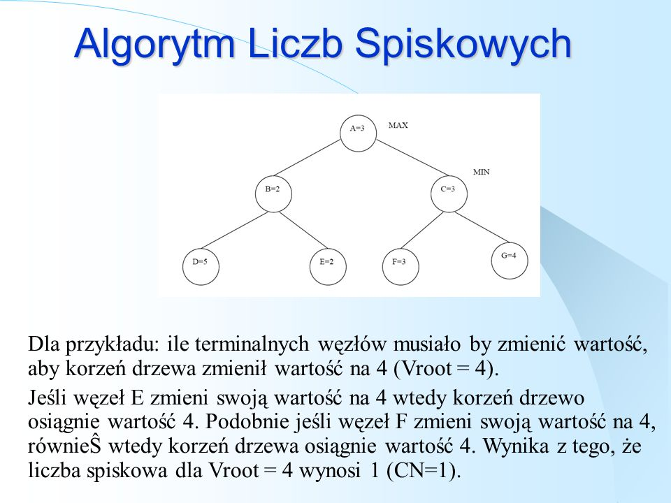 Algorytm Liczb Spiskowych Dla przykładu: ile terminalnych węzłów musiało by zmienić wartość, aby korzeń drzewa zmienił wartość na 4 (Vroot = 4). Jeśli