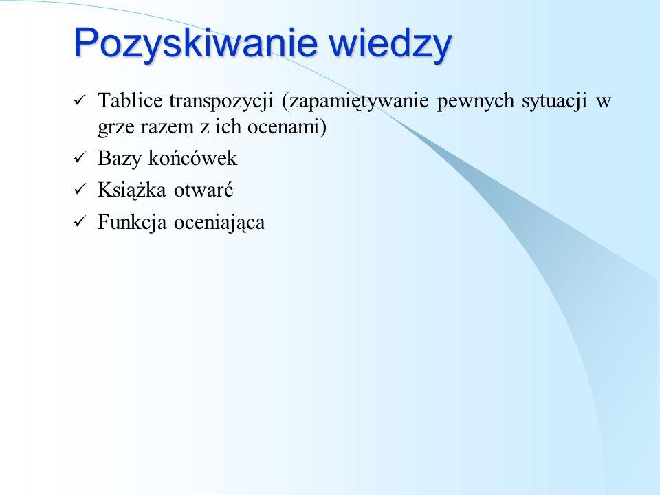 Pozyskiwanie wiedzy Tablice transpozycji (zapamiętywanie pewnych sytuacji w grze razem z ich ocenami) Bazy końcówek Książka otwarć Funkcja oceniająca