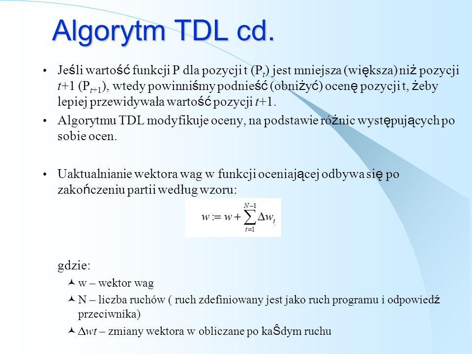 Algorytm TDL cd. Je ś li warto ść funkcji P dla pozycji t (P t ) jest mniejsza (wi ę ksza) ni ż pozycji t+1 (P t+1 ), wtedy powinni ś my podnie ść (ob
