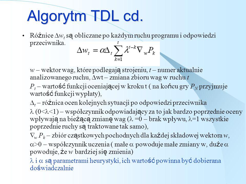 Algorytm TDL cd. Ró ż nice w t s ą obliczane po każdym ruchu programu i odpowiedzi przeciwnika. w – wektor wag, które podlegaj ą strojeniu, t – numer