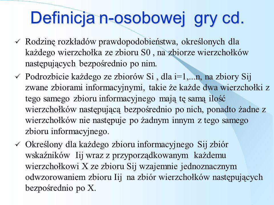 Definicja n-osobowej gry cd. Rodzinę rozkładów prawdopodobieństwa, określonych dla każdego wierzchołka ze zbioru S0, na zbiorze wierzchołków następują