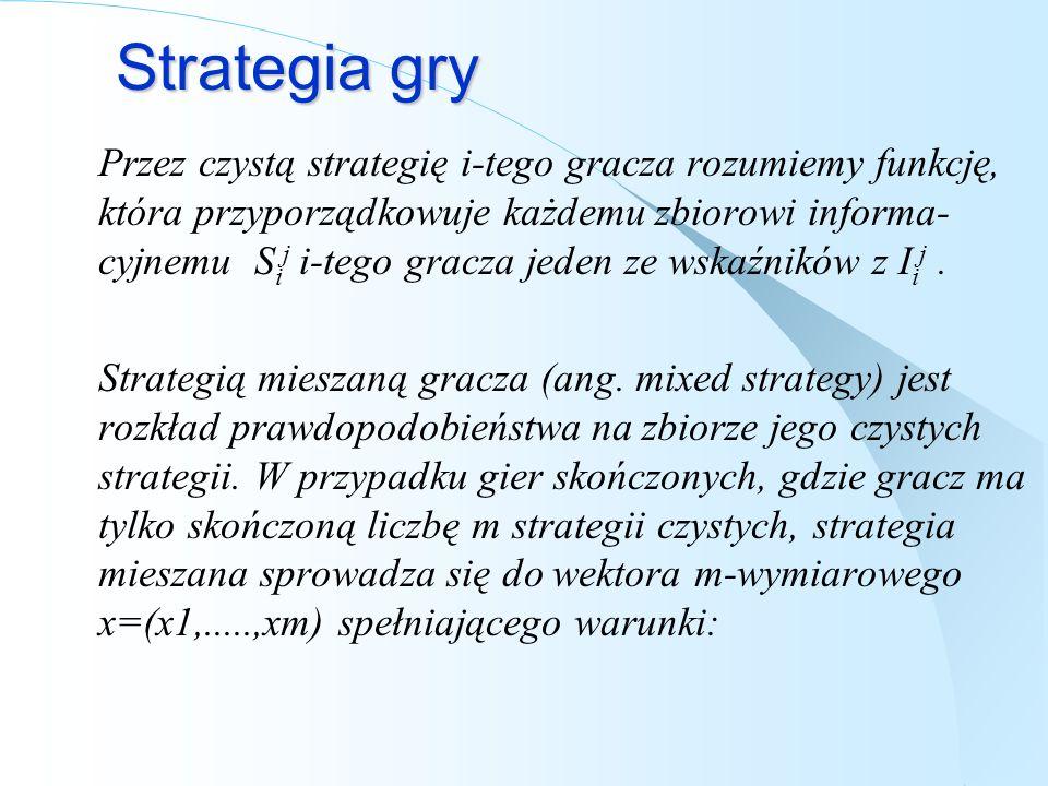 Strategia gry Przez czystą strategię i-tego gracza rozumiemy funkcję, która przyporządkowuje każdemu zbiorowi informa- cyjnemu S i j i-tego gracza jed