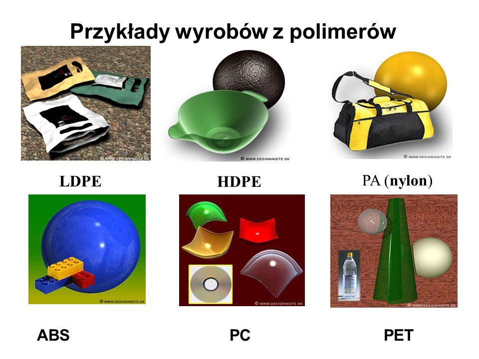 Przykłady wyrobów z polimerów LDPE HDPE PA (nylon) ABS PC PET