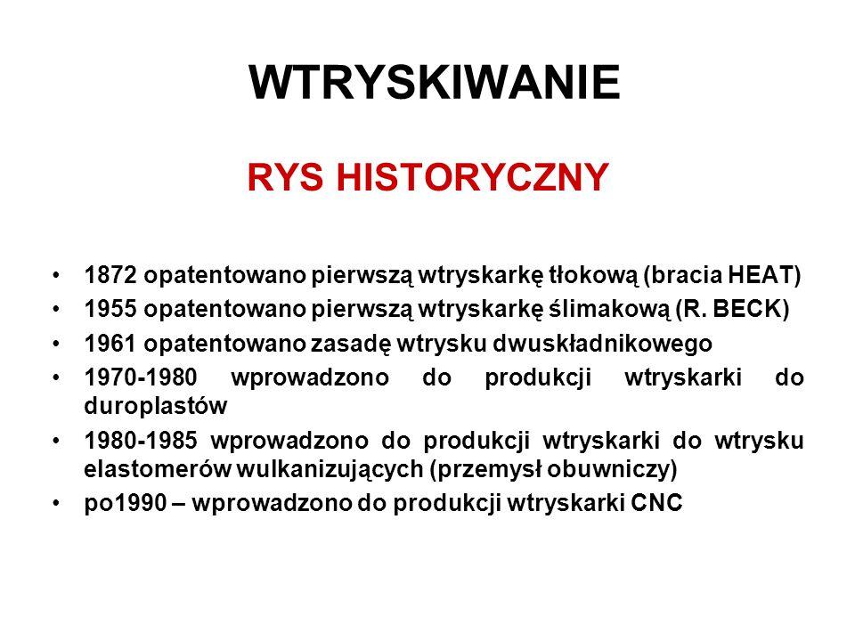 WTRYSKIWANIE RYS HISTORYCZNY 1872 opatentowano pierwszą wtryskarkę tłokową (bracia HEAT) 1955 opatentowano pierwszą wtryskarkę ślimakową (R. BECK) 196