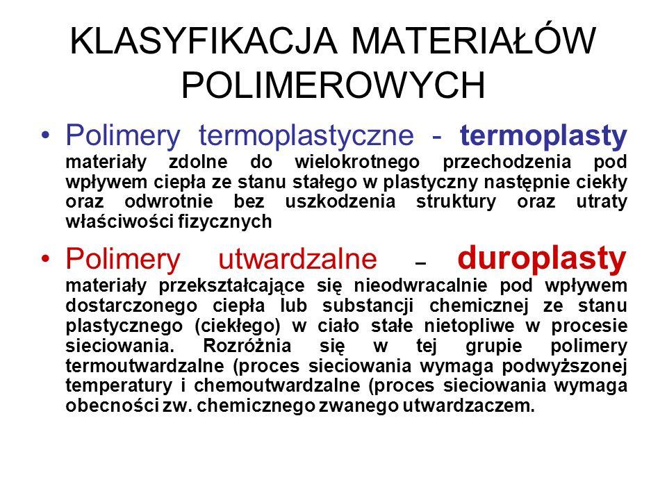 KLASYFIKACJA MATERIAŁÓW POLIMEROWYCH Polimery termoplastyczne - termoplasty materiały zdolne do wielokrotnego przechodzenia pod wpływem ciepła ze stan