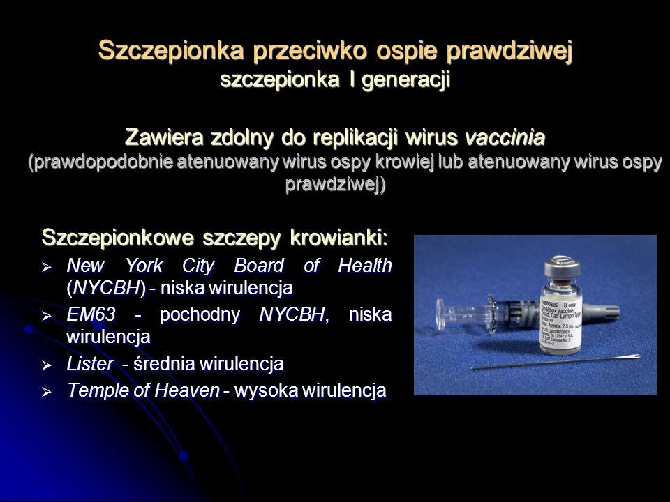 Szczepionka przeciwko ospie prawdziwej szczepionka I generacji Szczepionkowe szczepy krowianki: New York City Board of Health (NYCBH) - niska wirulenc
