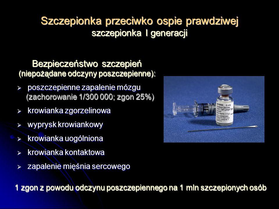 Szczepionka przeciwko ospie prawdziwej szczepionka I generacji Bezpieczeństwo szczepień (niepożądane odczyny poszczepienne): poszczepienne zapalenie m