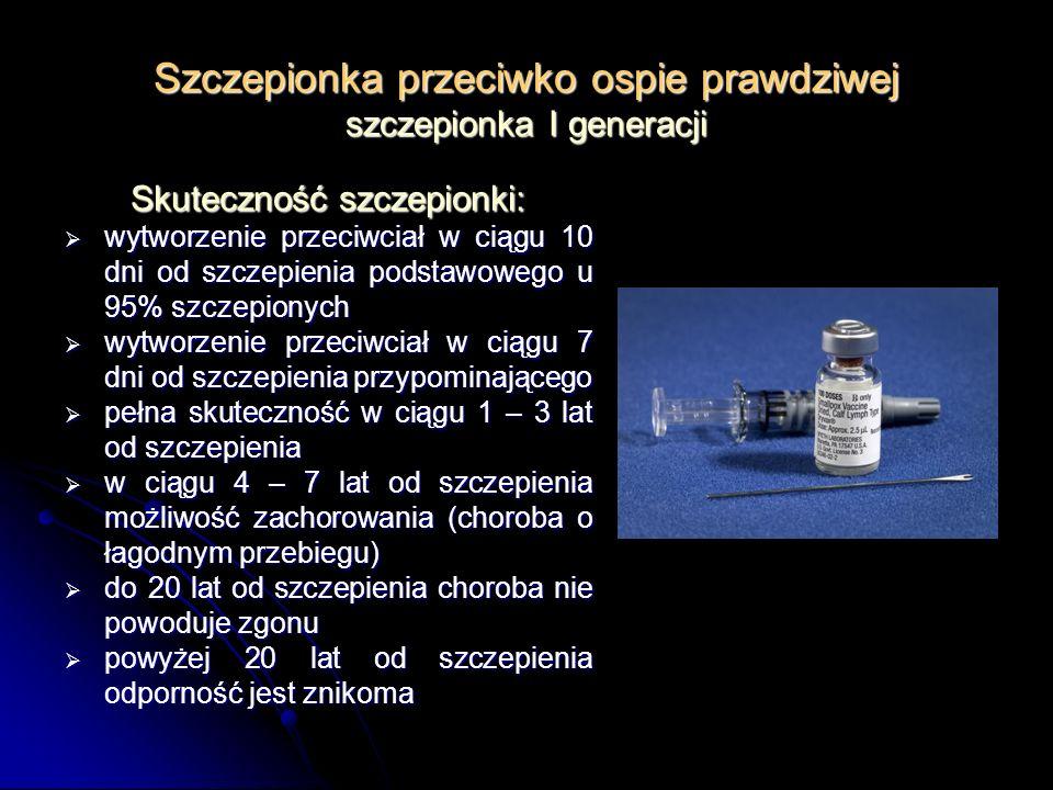 Szczepionka przeciwko ospie prawdziwej szczepionka I generacji Skuteczność szczepionki: wytworzenie przeciwciał w ciągu 10 dni od szczepienia podstawo