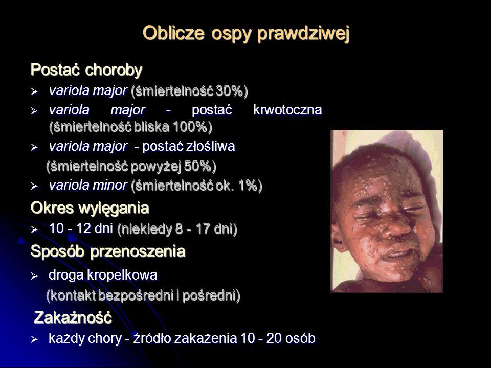 Oblicze ospy prawdziwej Postać choroby variola major (śmiertelność 30%) variola major (śmiertelność 30%) variola major - postać krwotoczna (śmiertelno