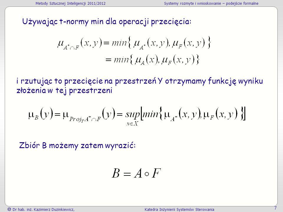 Metody Sztucznej Inteligencji 2011/2012Systemy rozmyte i wnioskowanie – podejście formalne Dr hab.