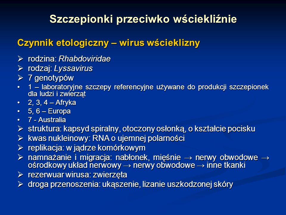 Szczepionki przeciwko wściekliźnie Czynnik etologiczny – wirus wścieklizny rodzina: Rhabdoviridae rodzina: Rhabdoviridae rodzaj: Lyssavirus rodzaj: Ly