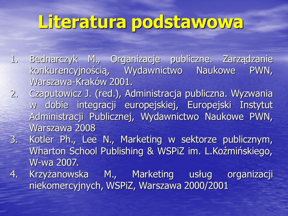 Literatura uzupełniająca 1.Drucker P., Zarządzanie organizacją pozarządową.