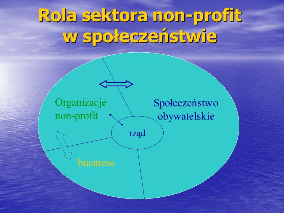 Rola sektora non-profit w społeczeństwie rząd Społeczeństwo obywatelskie Organizacje non-profit business