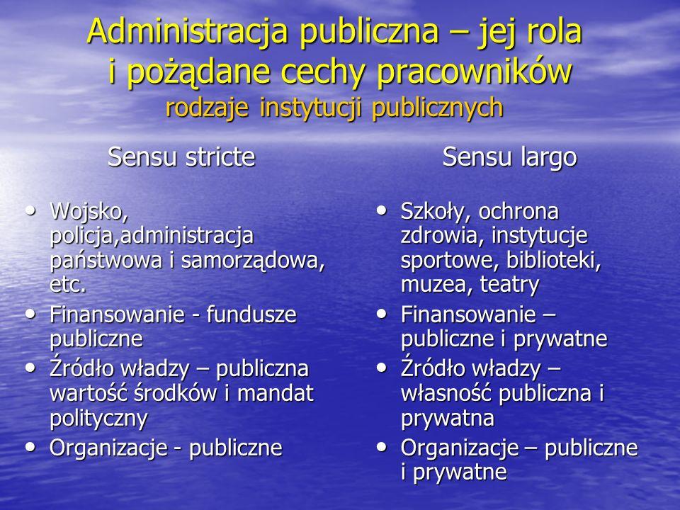 Administracja publiczna cechy przedsiębiorstw i organizacji publicznych (wg M.
