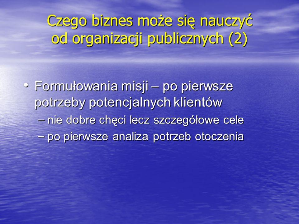 Łączenia urzędniczego i partnerskiego stylu zarządzania Rada Nadzorcza organizacji publicznej: wspieramy finansowo i angażujemy się w działalność organizacji, to nie będziemy jej szkodzić Rada Nadzorcza i dyrektor zarządzający są kolegami pracującymi dla tej samej sprawy Cechy charyzmatycznego lidera organizacji publicznej integrują personel i konsumentów organizacji Czego biznes może się nauczyć od organizacji publicznych (3)
