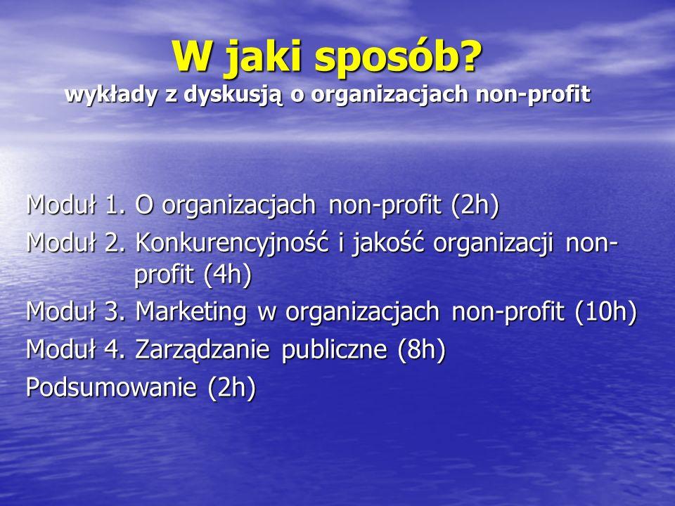 Moduł 1 O organizacjach non-profit 1.Definicja, podział, zasięg i skala działania 2.