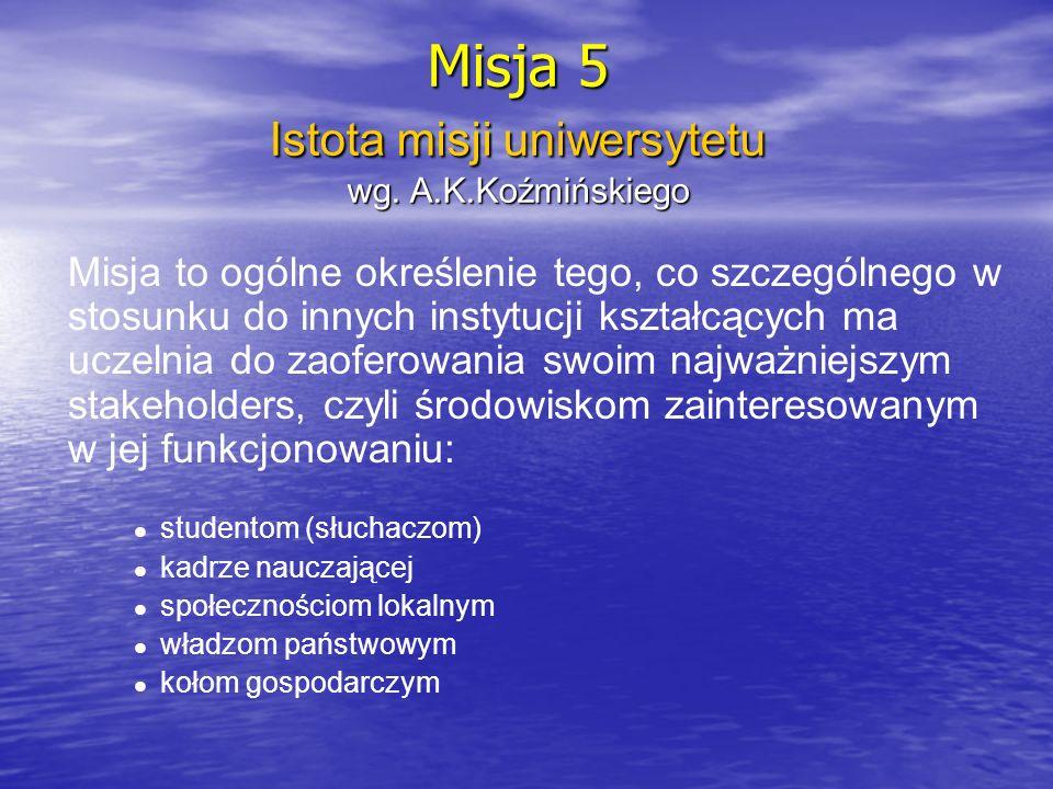 Misja (6) Opracowanie misji trzeba poprzedzić odpowiedzią na pytania .