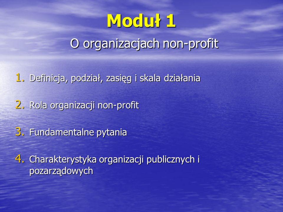 Moduł 2 Konkurencyjność i jakość 1.Konkurencyjność organizacji non-profit transakcje wymianytransakcje wymiany fazy rozwoju orientacji zarządzania organizacjami publicznymifazy rozwoju orientacji zarządzania organizacjami publicznymi rozwój sektora organizacji pozarządowychrozwój sektora organizacji pozarządowych 2.Jakość w organizacjach non-profit złożoność pojęcia jakościzłożoność pojęcia jakości model jakości usług i jej pomiarmodel jakości usług i jej pomiar