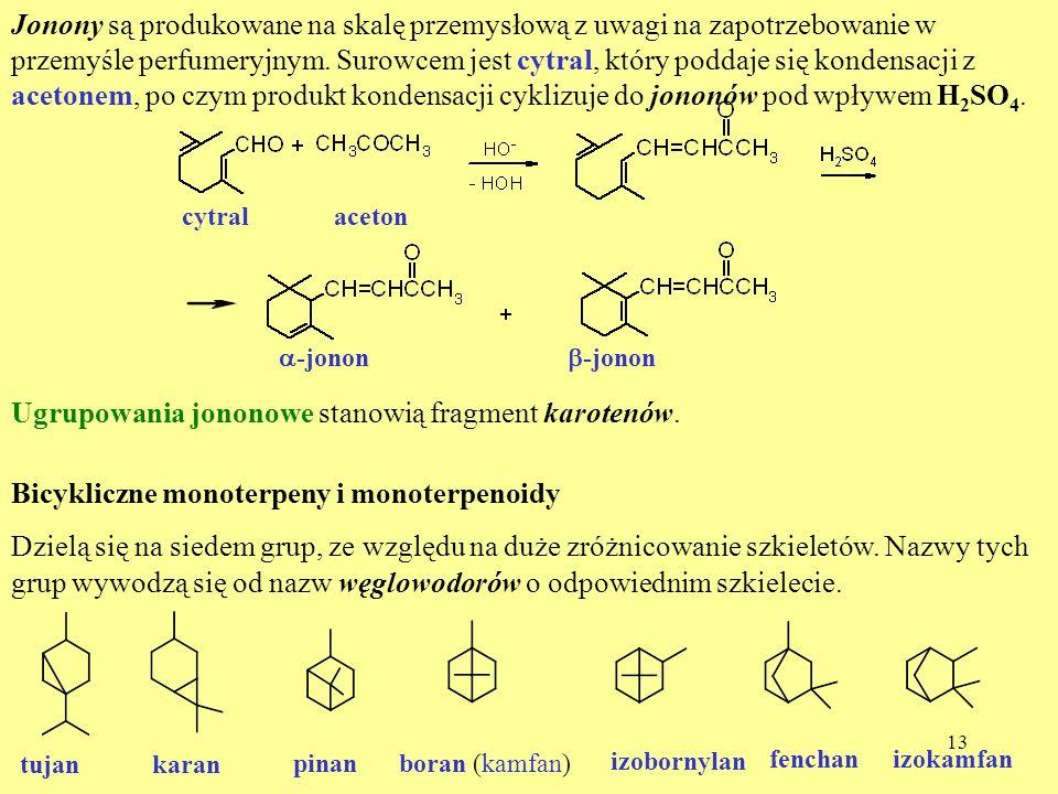 13 Jonony są produkowane na skalę przemysłową z uwagi na zapotrzebowanie w przemyśle perfumeryjnym. Surowcem jest cytral, który poddaje się kondensacj