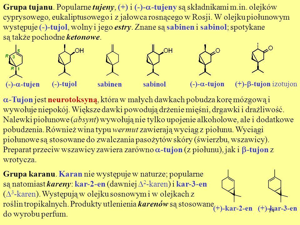 14 Grupa tujanu. Popularne tujeny, (+) i (-)- -tujeny są składnikami m.in. olejków cyprysowego, eukaliptusowego i z jałowca rosnącego w Rosji. W olejk