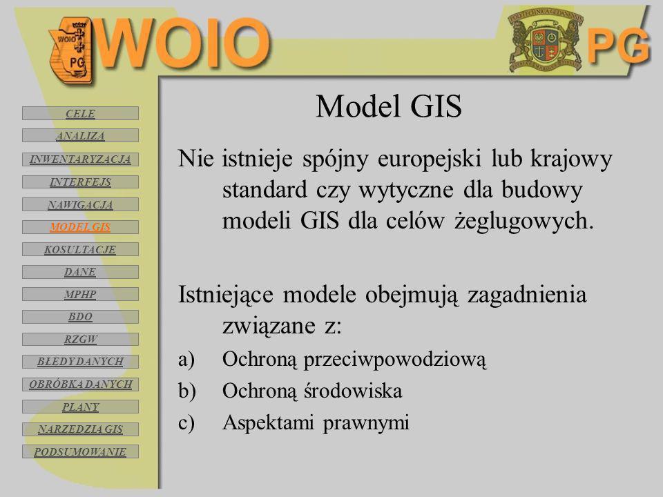 Model GIS Nie istnieje spójny europejski lub krajowy standard czy wytyczne dla budowy modeli GIS dla celów żeglugowych. Istniejące modele obejmują zag