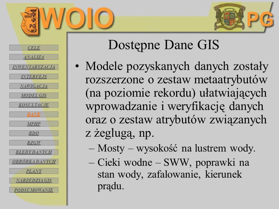 Dostępne Dane GIS Modele pozyskanych danych zostały rozszerzone o zestaw metaatrybutów (na poziomie rekordu) ułatwiających wprowadzanie i weryfikację