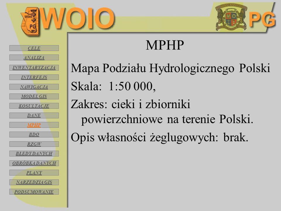MPHP Mapa Podziału Hydrologicznego Polski Skala: 1:50 000, Zakres: cieki i zbiorniki powierzchniowe na terenie Polski. Opis własności żeglugowych: bra