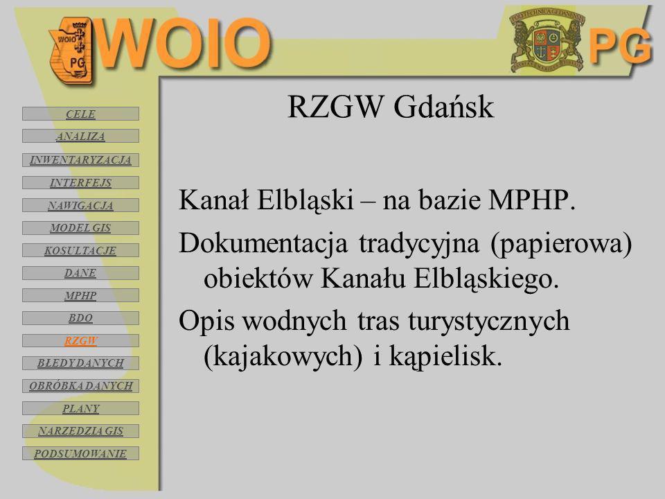 RZGW Gdańsk Kanał Elbląski – na bazie MPHP. Dokumentacja tradycyjna (papierowa) obiektów Kanału Elbląskiego. Opis wodnych tras turystycznych (kajakowy
