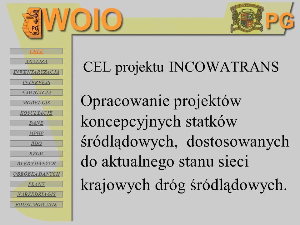 CEL projektu INCOWATRANS Opracowanie projektów koncepcyjnych statków śródlądowych, dostosowanych do aktualnego stanu sieci krajowych dróg śródlądowych