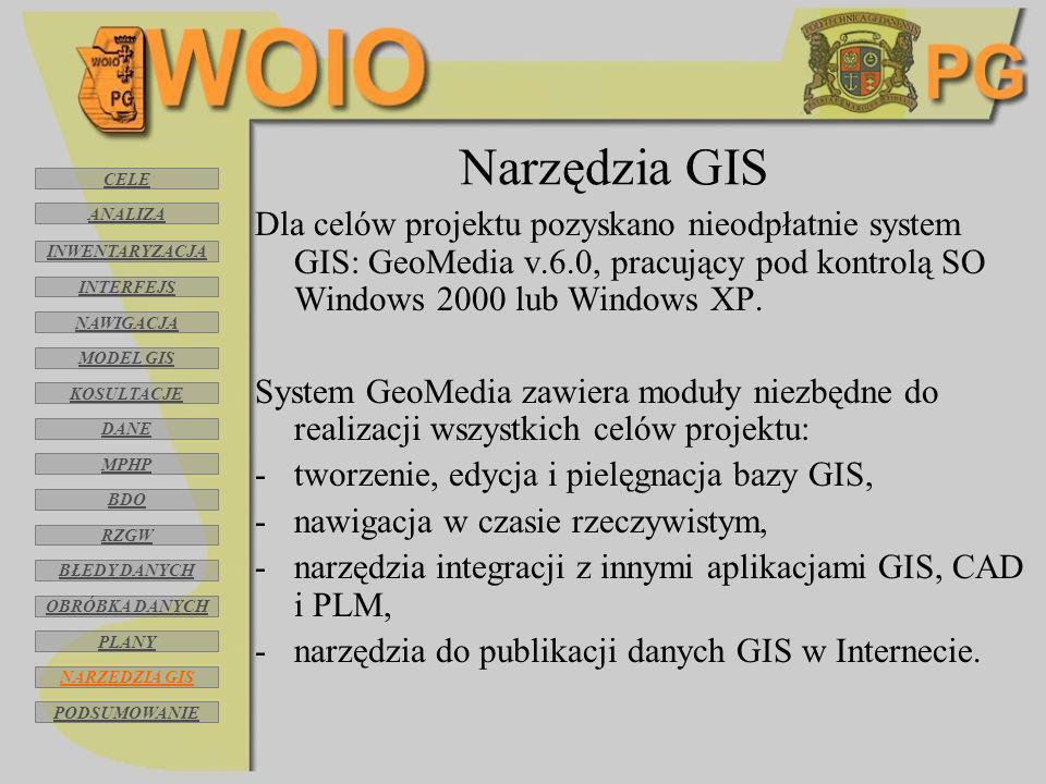 Narzędzia GIS Dla celów projektu pozyskano nieodpłatnie system GIS: GeoMedia v.6.0, pracujący pod kontrolą SO Windows 2000 lub Windows XP. System GeoM