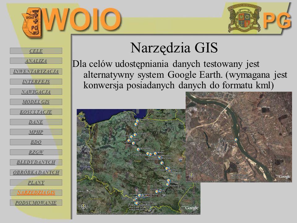 Narzędzia GIS Dla celów udostępniania danych testowany jest alternatywny system Google Earth. (wymagana jest konwersja posiadanych danych do formatu k