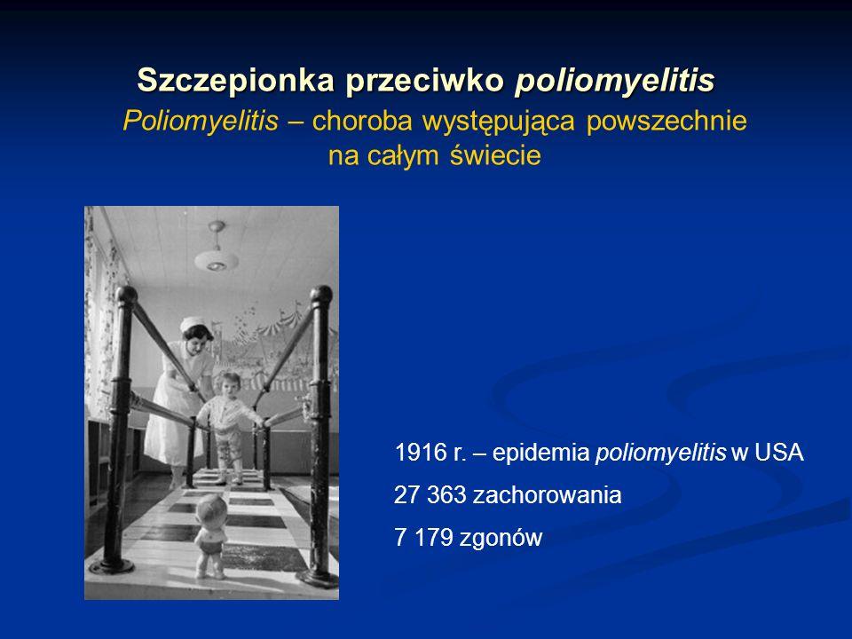 Szczepionka przeciwko poliomyelitis Poliomyelitis – choroba występująca powszechnie na całym świecie 1916 r. – epidemia poliomyelitis w USA 27 363 zac