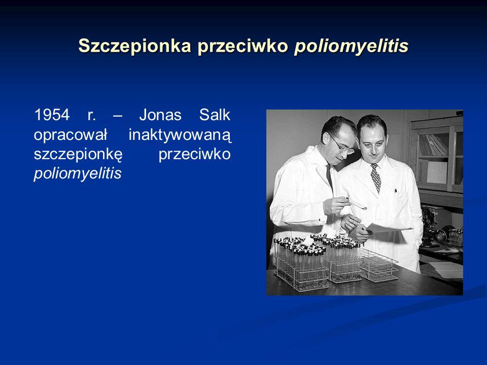 Szczepionka przeciwko poliomyelitis 1954 r. – Jonas Salk opracował inaktywowaną szczepionkę przeciwko poliomyelitis