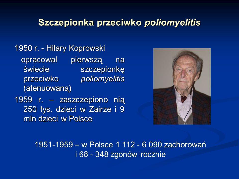 Szczepionka przeciwko poliomyelitis 1950 r. - Hilary Koprowski opracował pierwszą na świecie szczepionkę przeciwko poliomyelitis (atenuowaną) opracowa