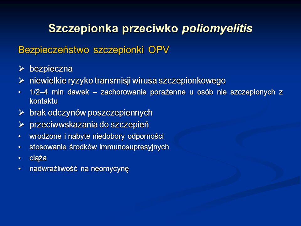 Szczepionka przeciwko poliomyelitis Bezpieczeństwo szczepionki OPV bezpieczna bezpieczna niewielkie ryzyko transmisji wirusa szczepionkowego niewielki