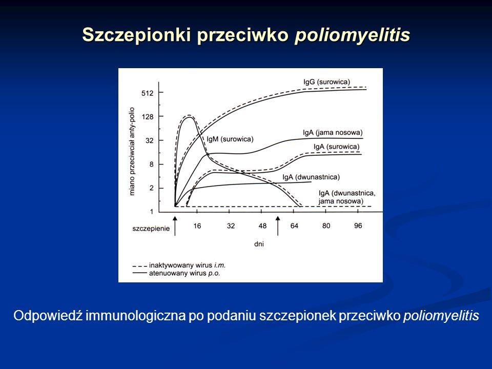 Szczepionki przeciwko poliomyelitis Odpowiedź immunologiczna po podaniu szczepionek przeciwko poliomyelitis