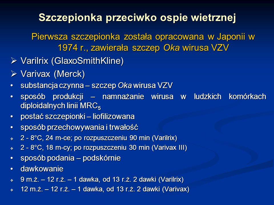 Szczepionka przeciwko ospie wietrznej Pierwsza szczepionka została opracowana w Japonii w 1974 r., zawierała szczep Oka wirusa VZV Varilrix (GlaxoSmit