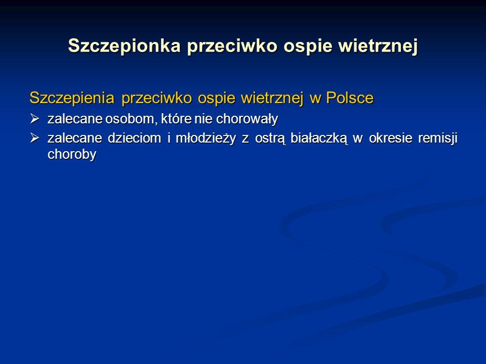 Szczepionka przeciwko ospie wietrznej Szczepienia przeciwko ospie wietrznej w Polsce zalecane osobom, które nie chorowały zalecane osobom, które nie c